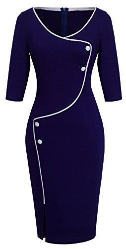 Homeyee Frauen elegante dunkelblaue Knopf Hülsen-dünne Abend-Partei-Geschäfts, figurbetontes Kleid B329 (EU 36 = Size S, Dunkelblau)