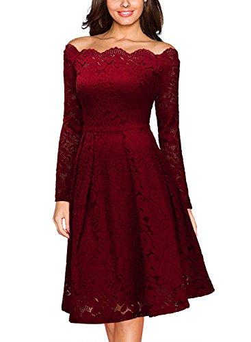 Miusol Damen Vintage 1950er Off Schulter Cocktailkleid Retro Spitzen Schwingen Pinup Rockabilly Kleid Rot Gr.3XL