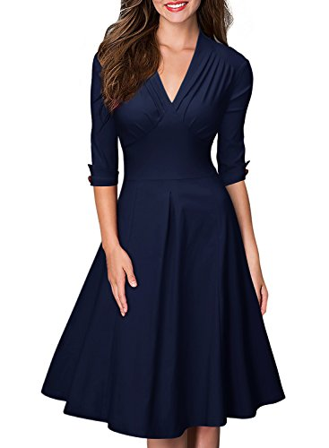 Miusol Damen 3/4 Arm Sommer Rockabilly Cocktailkleid Stretch Business retro 50er Jahre Kleid Blau Groesse 3XL