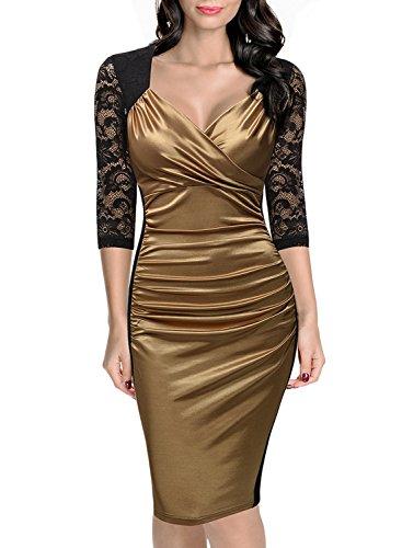 Miusol Damen Elegant Sommer Kleid Spitzen 3/4 Arm Wickelkleid Cocktailkleid Gold Gr.XXL