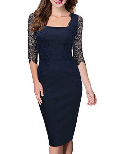 designer fashion 3d206 8f6f1 Missmay Damen elegant Abendkleid 1/2 Arm mit Spitze Knielang Kleid Cocktail  Etuikleid Blau Gr.L