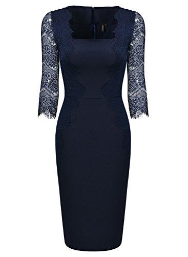 ᐅ Missmay Damen Elegant Abendkleid 1 2 Arm Mit Spitze Knielang Kleid Cocktail Etuikleid Blau Gr L