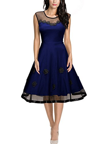 best website 444c6 575a5 Missmay Damen Rundhals Knielang Abendkleid Cocktail Ballkleid Blau Gr.L