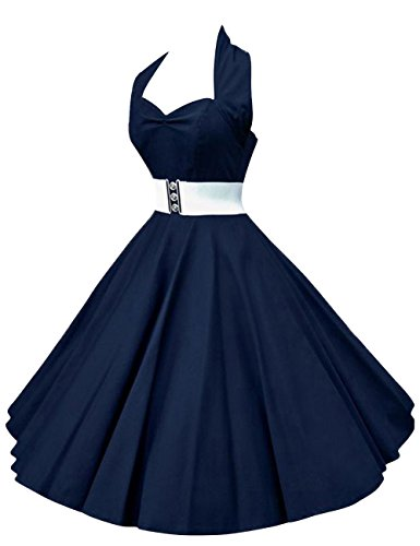 VKStar®Retro Chic ärmellos 1950er Audrey Hepburn Kleid / Cocktailkleid Rockabilly Swing Kleid Marineblau M