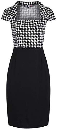 Rockabilly Pin Up 50er Retro Vintage-Stil Dog Tooth Midi Bleistift Kleid (48-50)
