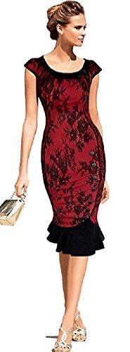 Neue Rockabilly Vintage 50er Jahre Kleid (M - 36, Rot Spitze)