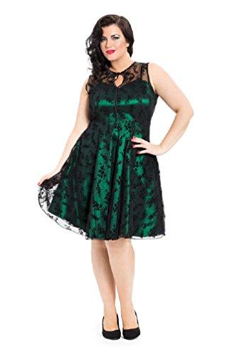 Neue Smaragd Grün Voodoo Vixen 50er Jahre Rockabilly Vintage Stil Spitzen Kleid (4XL)