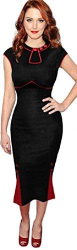Neue Rockabilly 40er 50er Jahre Elegantes Wiggle Bleistift Kleid (36, Schwarz & Rot)