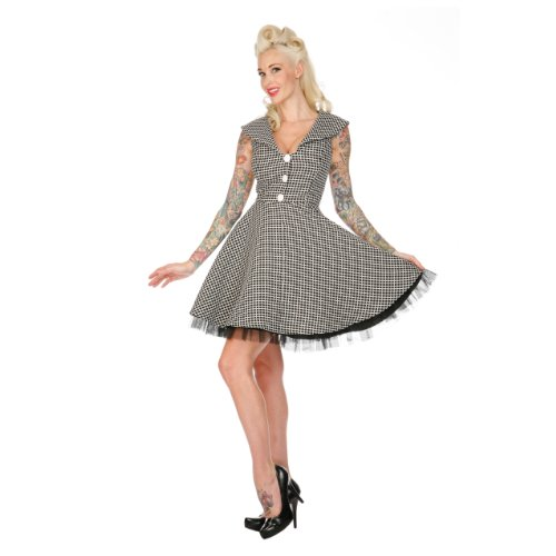 Voodoo Vixen Kleid LUCKY CLOVER DRA2128 black-white XL