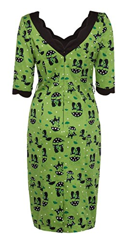 Voodoo Vixen KITTY Umbrella Cat Vintage Pin Up WIGGLE Dress Kleid Rockabilly -