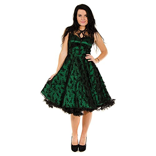 Voodoo Vixen Net Flowers Kleid (Grün) - Large