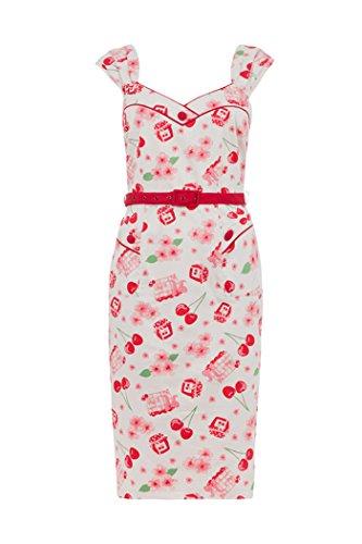 6745bac1d7ccb Voodoo Vixen ANNE Vintage CHERRY Kirschen Wiggle Dress Kleid Rockabilly -