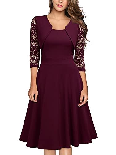 Miusol? Damen Abendkleid Elegant Cocktailkleid Vintage Kleider 3/4 Arm mit Spitzen Knielang Party Kleid Weinrot Gr.S