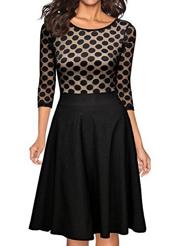 Miusol Damen Elegant Abendkleid Vintag 50er Kleider mit Polka Dots Spitzen Partykleid 3/4 Arm Knielang Rockabilly Kleid Schwarz Gr.M