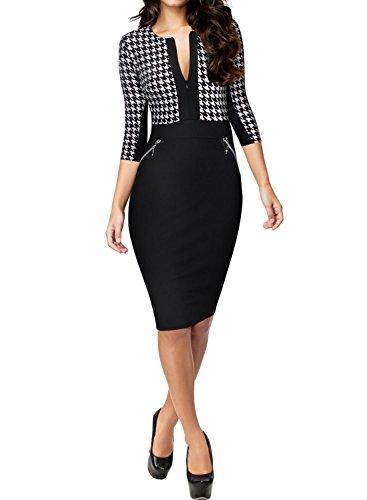 Miusol Damen Kleid Mit 3/4-Arm Hahnentritt Muster mit Reissverschluss vorne?Business Abendkleider Schwarz EU 38/M
