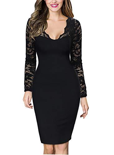 Miusol Damen elegant Abendkleid Spitzen V-Ausschnitt Cocktail Ballkleid Langarm Kleid schwarz/Weiß Gr.34-46 (EU 38 (M), Schwarz)
