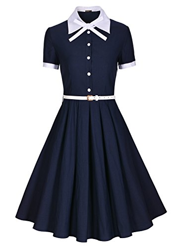 Miusol Damen Schulmaedchen Revers mit Schleife Marine Stil Rockabilly Cocktailkleid Business 80er Jahr Kleid Blau Gr.M