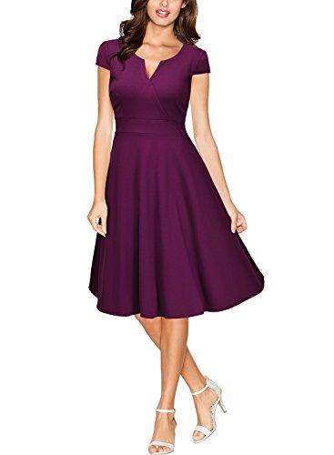 Miusol Damen Cocktailkleid 50er Vintag Style Swing A-Linie Abendkleid Lila Gr.M