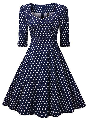 Miusol Elegant 50er Jahre Retro Polka Dots?Rockabilly Cocktailkleid Party Stretch Kleid Blau Gr.3XL