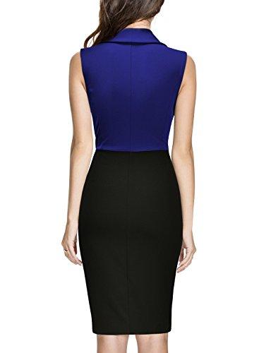 wie man kauft bester Service absolut stilvoll Miusol Damen Aermellos V-Ausschnitt Wickelkleid Kleiner Beinschlitz  Knielanges Abendkleid Blau Gr.XXL