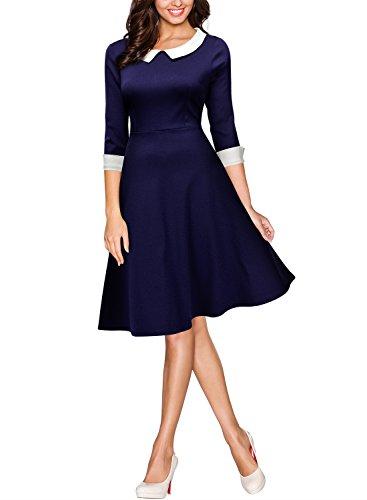 Miusol® Damen Knielang 1/2 Arm Rundhals Vintage Kleid Abendkleid Rockabilly Festlich Kleider Blau Gr.XXL