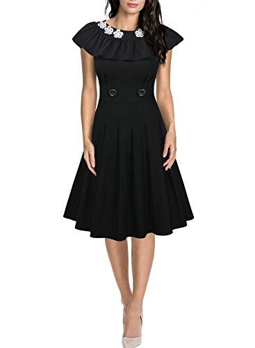 Miusol® Damen kielang Kleid Rundhals Abendkleid Vintag 50er Jahr Rockabilly Partykleid schwarz Gr.36-46