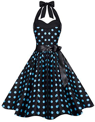 Zarlena Damen Rockabilly Kleid Polka Dots Punkte Tupfen Retro 50er Neckholder Schwarz mit türkisen Dots L 633--L