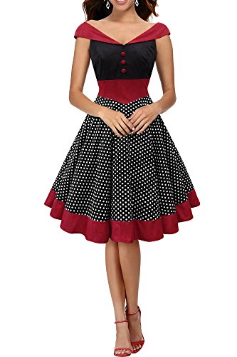 BlackButterfly 'Sylvia' Vintage Polka-Dots Pin-up-Kleid (Schwarz, EUR 40 - M)