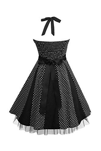 Black Butterfly 'Ivy' 50's Polka-Dots Swingkleid (Schwarz – Kleine Weiße Punkte, EUR 38 – S) - 2