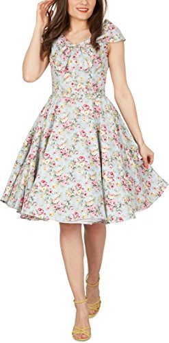 Black Butterfly 'Cynthia' Vintage Amity Kleid im 50er-Jahre-Stil (Himmelblau, EUR 52 - 5XL)