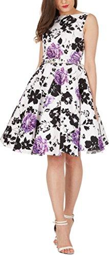 Black Butterfly 'Audrey' Vintage Serenity Kleid im 50er-Jahre-Stil (Weiß & Lila, EUR 52 - 5XL)