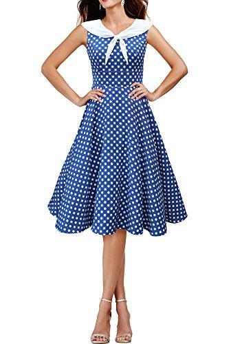 Black Butterfly 'Clio' 50's Polka-Dots Kleid mit besetztem Ausschnitt (Denim, EUR 40 - M)