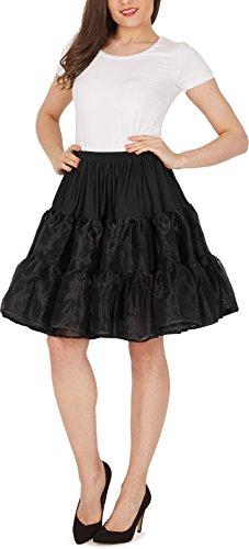"""Black Butterfly 20"""" Rockabilly Petticoat 1950er-Jahre Komplett aus Satin-Organza Tellerrock (Schwarz, EUR 36 - 42)"""