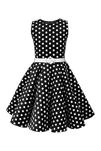 BlackButterfly Kinder 'Audrey' Vintage Polka-Dots Kleid im 50er-J-Stil (Schwarz, 9-10 J)