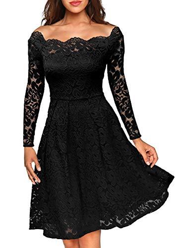 Miusol Damen Vintage 1950er Off Schulter Cocktailkleid Retro Spitzen Schwingen Pinup Rockabilly Kleid Schwarz Gr.XL