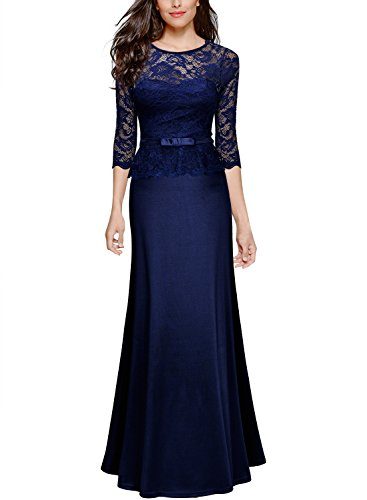 Miusol Damen Abendkleid 3/4 Arm Elegant Spitzen Kleid Brautjungfer Langes Cocktailkleid Navy Blau Gr.L