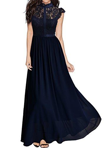 Miusol Damen Elegant Spitzen Abendkleid Brautjungfer Cocktailkleid Chiffon Faltenrock Langes Kleid Dunkelblau Gr.XL