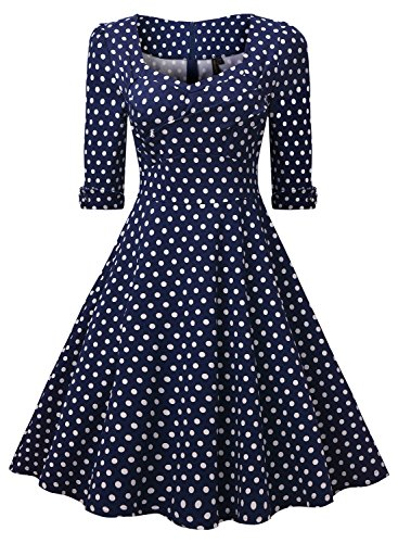 Miusol Elegant 50er Jahre Retro Polka Dots?Rockabilly Cocktailkleid Party Stretch Kleid Blau Gr.L