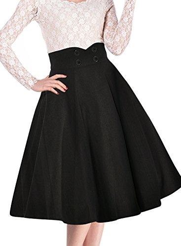 Miusol Damen Elegant Faltenrock Zweireiher Causal Business Vintage 1950er Jahr Roecke Schwarz Gr.L