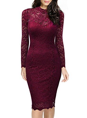 Miusol Damen Elegant Kleider Rundhals Knilanges Rotwein Spitzenkleid Stretch Ball-Abendkleider Gr.M