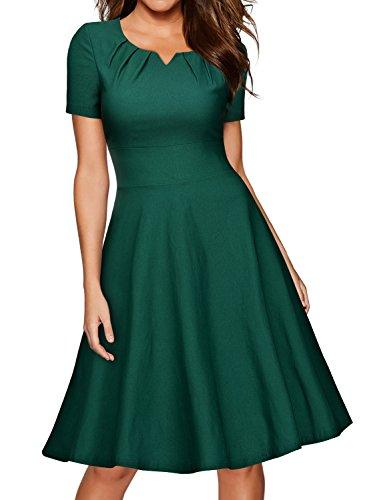 Miusol Vintage 50er Kleid Knielang Ballkleid Rockabilly Cocktail Abendkleid Grün