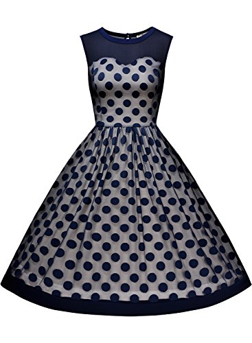 Miusol Knielang Vintage Abendkleid Retro 50er Rockabilly kleid Cocktail Ballkleid Blau