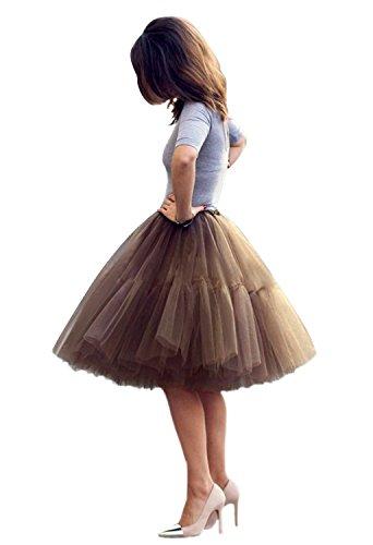 Babyonline Damen Tüllrock 5 Lage Prinzessin Kleider Knielang Petticoat Ballettrock Unterrock Pettiskirt Swing One Size