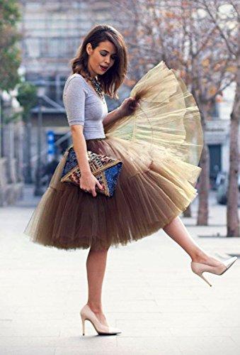 Babyonline Damen Tüllrock 5 Lage Prinzessin Kleider Knielang Petticoat Ballettrock Unterrock Pettiskirt Swing One Size - 2