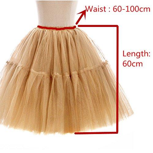 Babyonline Damen Tüllrock 5 Lage Prinzessin Kleider Knielang Petticoat Ballettrock Unterrock Pettiskirt Swing One Size -