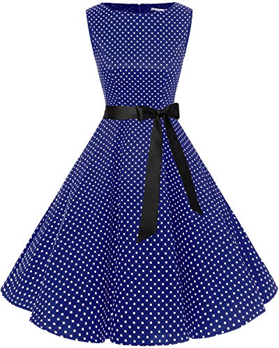 Bbonlinedress 50s Retro Schwingen Vintage Rockabilly kleid Faltenrock Navy Small White Dot XS