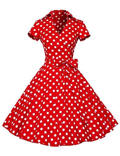 Dresstells Rockabilly Kleid 1950er Retro Polka Dots Kurz Faltenrock Petticoat Cocktailkleid Red Dot