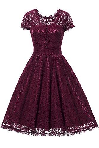 Gigileer Elegant Damen Kleider Spitzenkleid Cocktailkleid Knielanges Vintage 50er Jahr hochzeit Party weinrot M