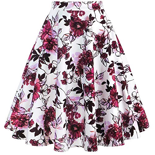 Tailloday Damen 50er Jahre Art Rock Vintage Floral Rockabilly Swing Tellerrock L