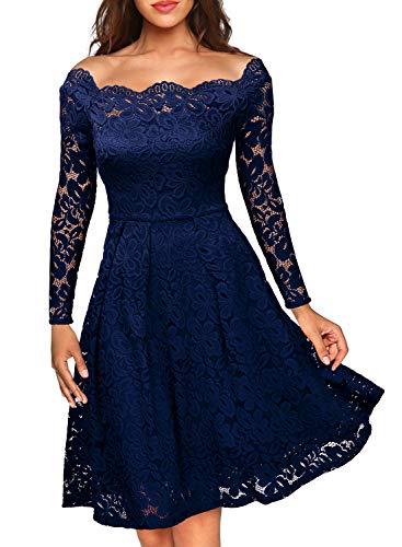 Miusol Damen Vintage 1950er Off Schulter Cocktailkleid Retro Spitzen Schwingen Pinup Rockabilly Kleid Dunkelblau